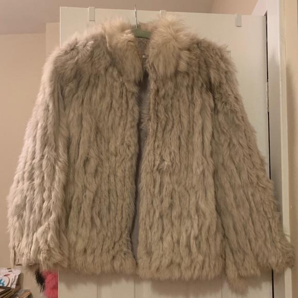 Saga Fox Jackets & Blazers - White/Beige Faux Fur Coat Perfect for Burning Man